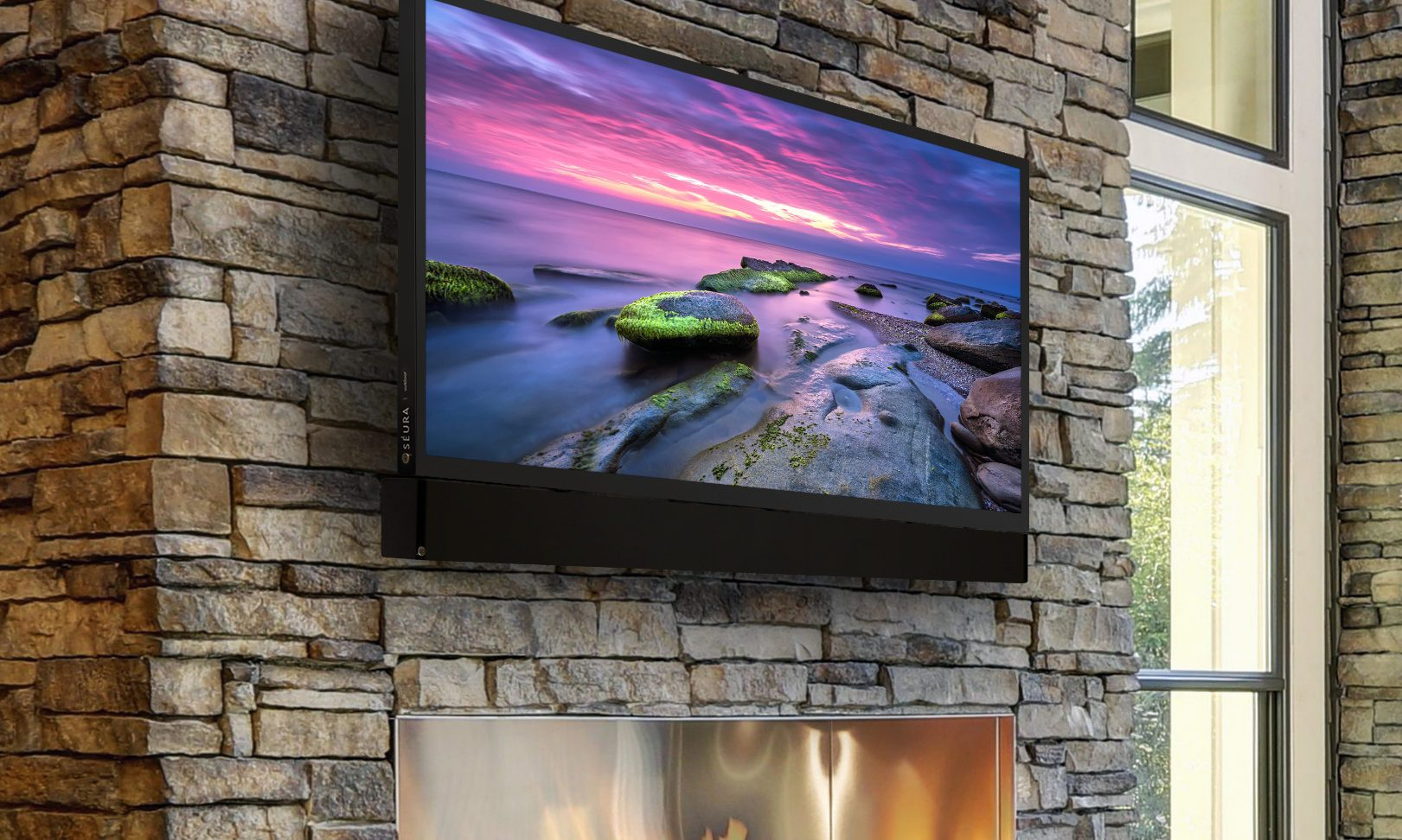 TV mount on stone wall above the fireplace, Modern TV & Audio