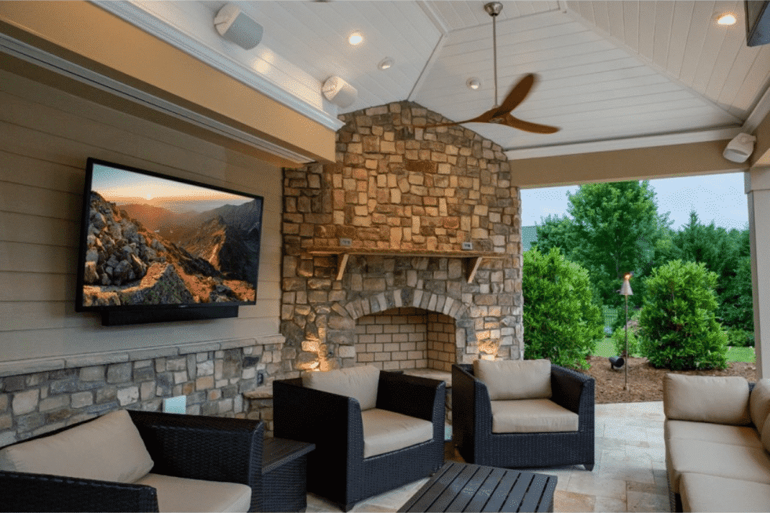Outdoor TV mounting on patio